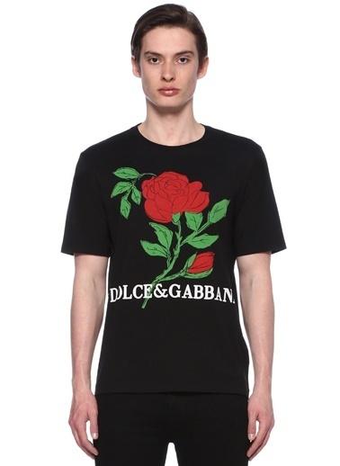 Dolce&Gabbana Bisiklet Yaka Baskılı Tişört Siyah